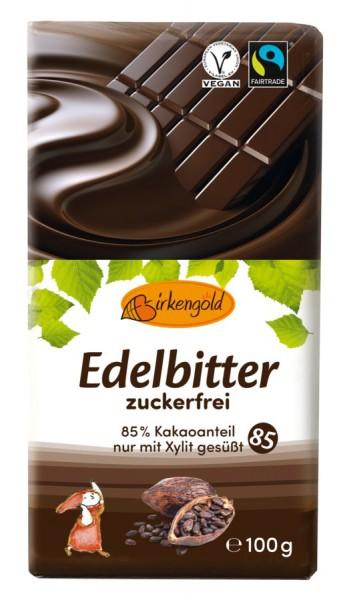 Birkengold Birkengold Edelbitter Schokolade,  85% Kakaogehalt,  zuckerfrei