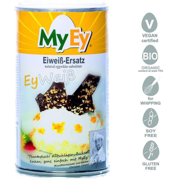 MyEy EyWeiß Eiweiß-Ersatz für Hühner-Ei, rein pflanzlich & voll aufschlagbar