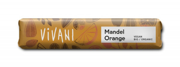 Vivani Mandel Orange Riegel - mit Reisdrink