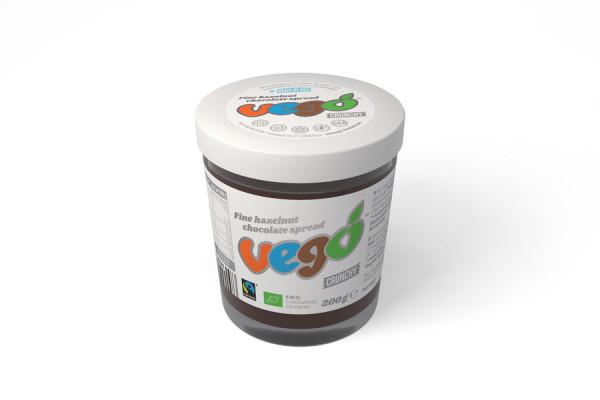 Vego VEGO - Fine hazelnut chocolate spread (crunchy) - ORGANIC, VEGAN, FAIRTEADE,
