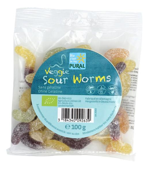 Pural Veggie Sour Worms Fruchtgummi ohne Gelatine