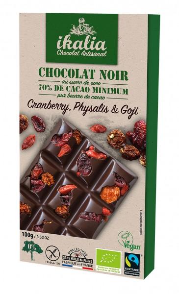 Ikalia Zartbitter Schokolade Cranberry, Physalis, Gojibeeren, 100g