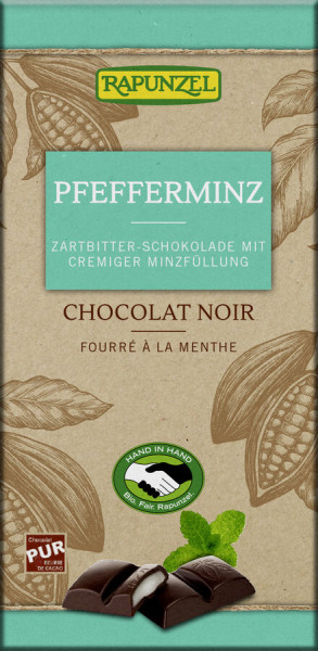 Rapunzel Zartbitter Schokolade mit Pfefferminzfüllung HIH