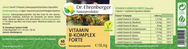 Dr. Ehrenberger Vitamin BKomplex forte, 60 Kapseln (inkl. B12)