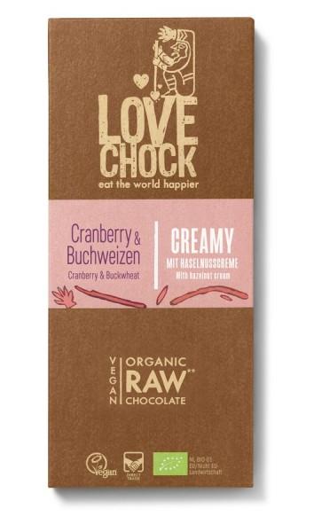 Lovechock Lovechock Tafel Creamy 70 g Cranberry/Buchweizen