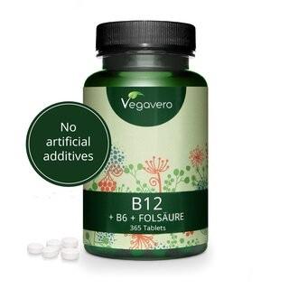 Vegavero Vitamin B12 (+B6 und Folsäure), 365 Tabletten