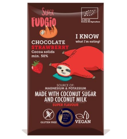 Super Fudgio Kokosmilch Schokolade ERDBEER, 80g