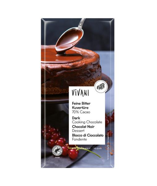 Vivani Feine Bitter Kuvertüre 70% Cacao (200 g-Tafelformat)
